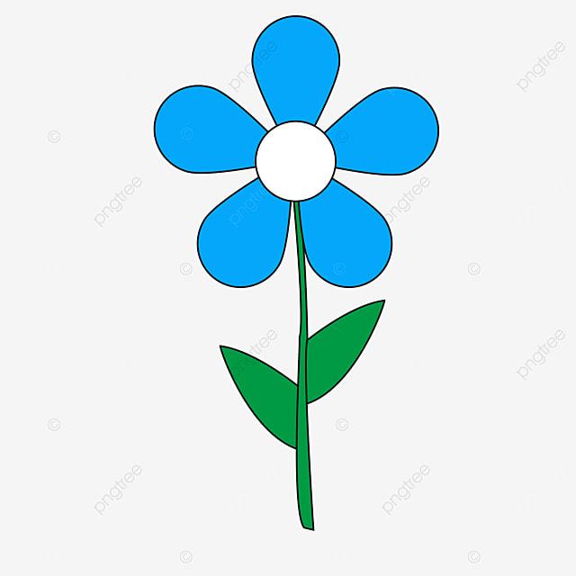 green leaf blue white stamen flower flower clipart