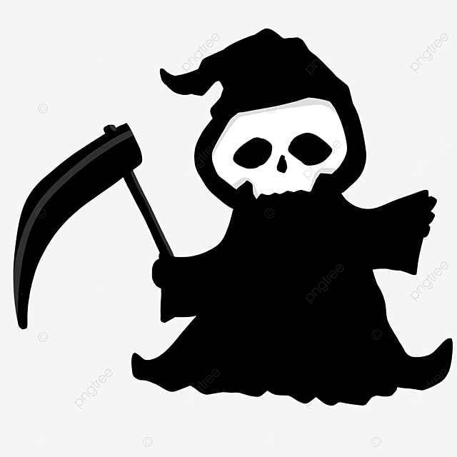 grim reaper black and white character clipart