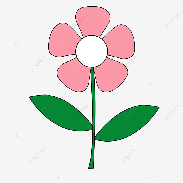 light rose pink green small flower flower clipart