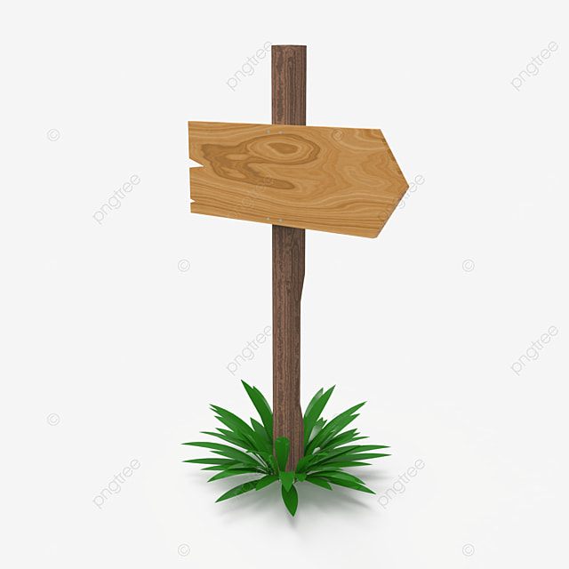 one way direction wooden sign post side view