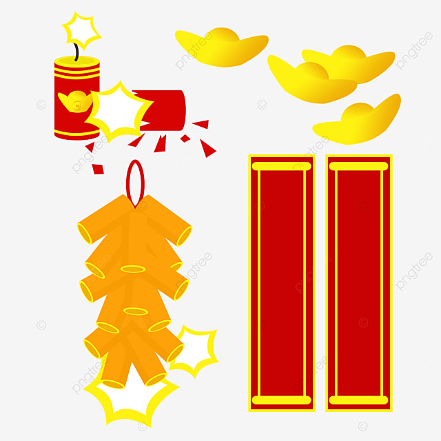 orange spring festival couplet firecracker combination