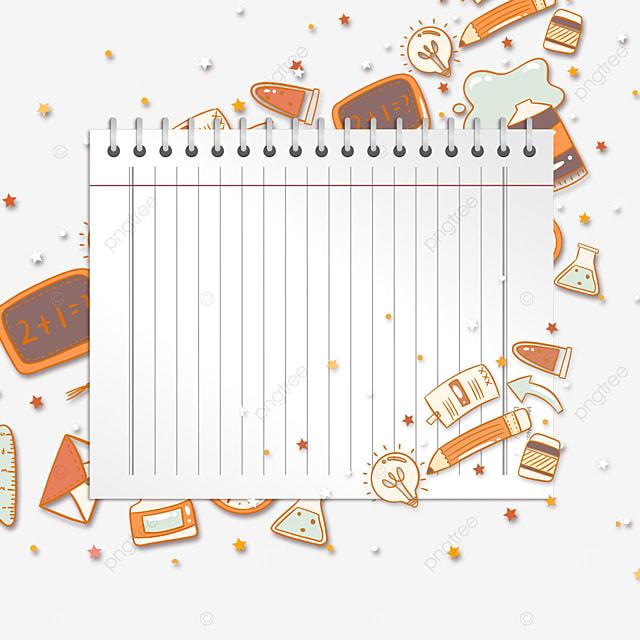orange stationery notebook border