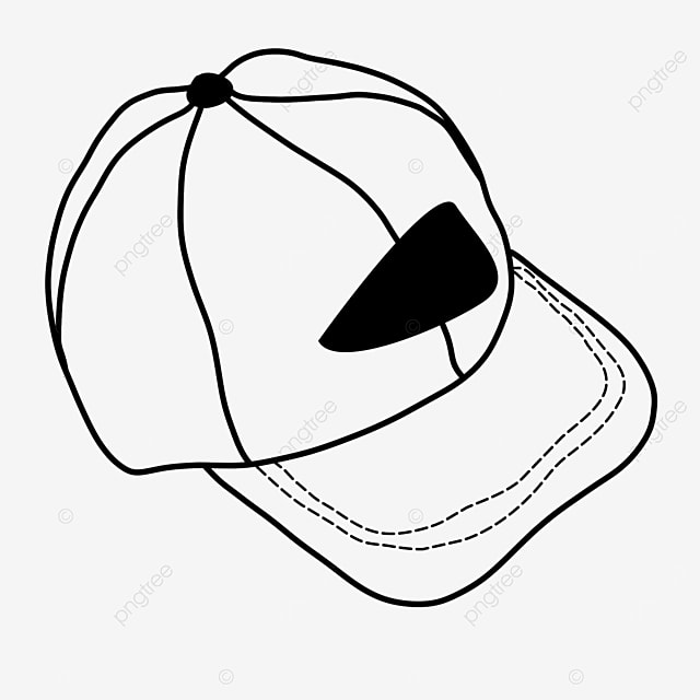 peaked cap casual sun visor protective head hat clipart black and white