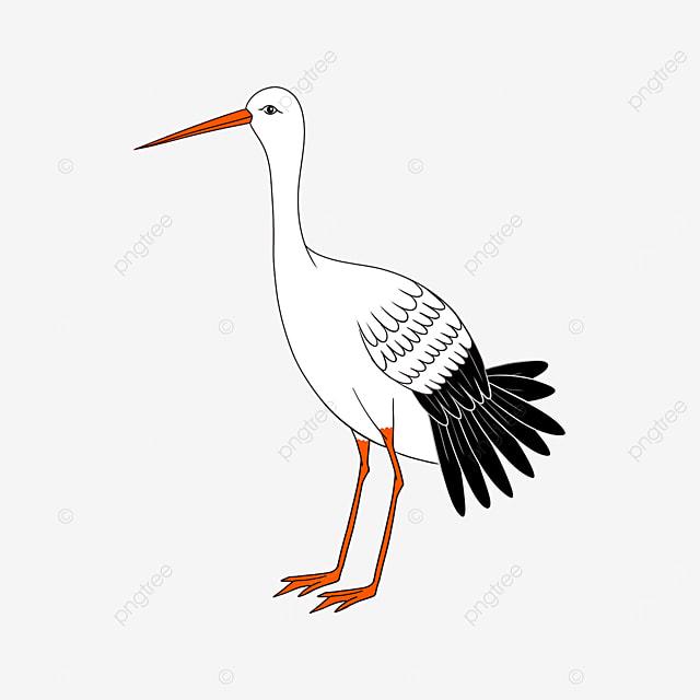 plain and pure white stork clip art