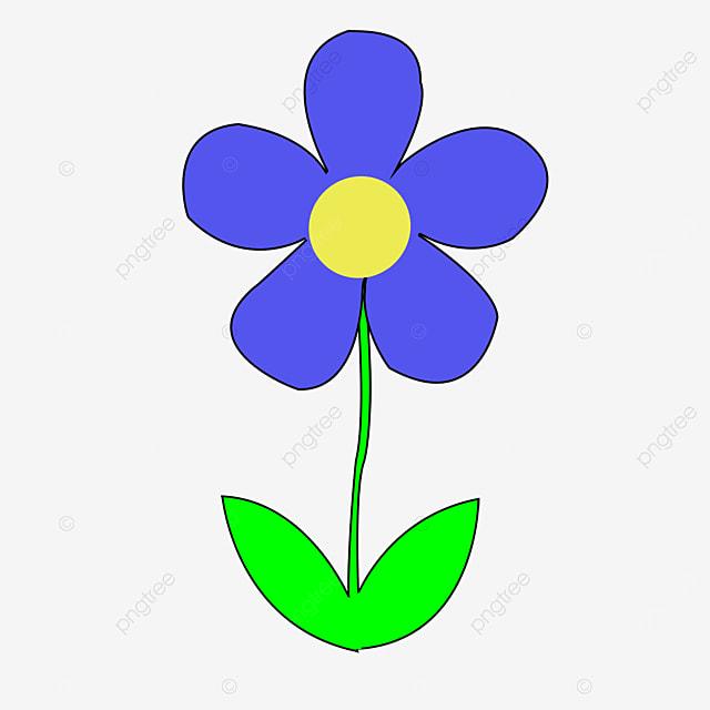 purple blue green leaf flower clipart