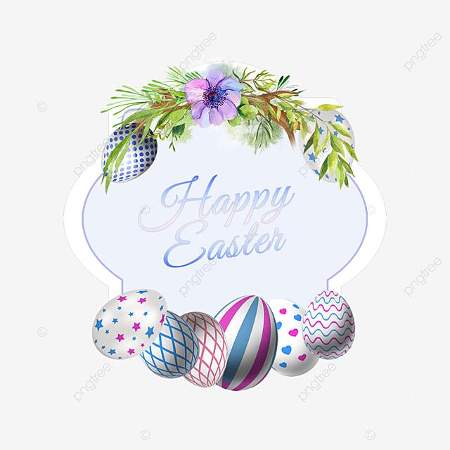 purple floral easter egg holiday border