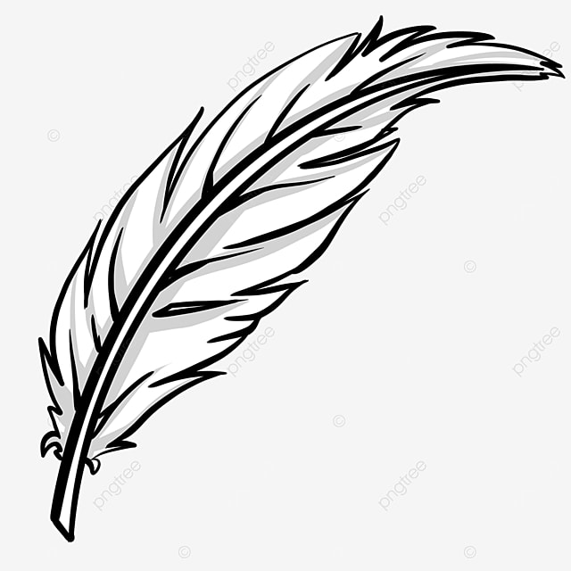 quill black and white feather clipart