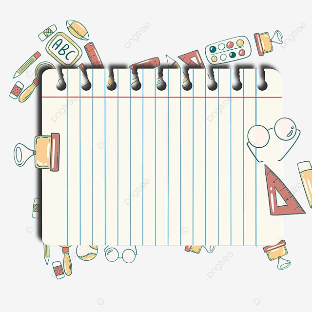 school stationery notebook border