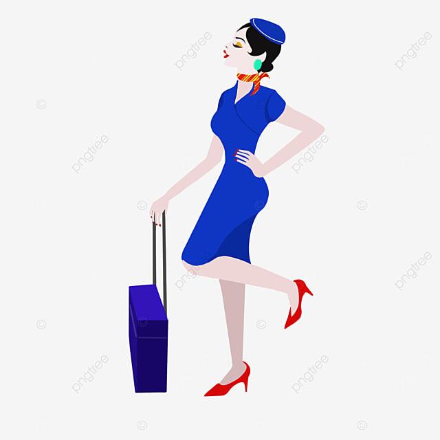 sexy stewardess in blue uniform clipart
