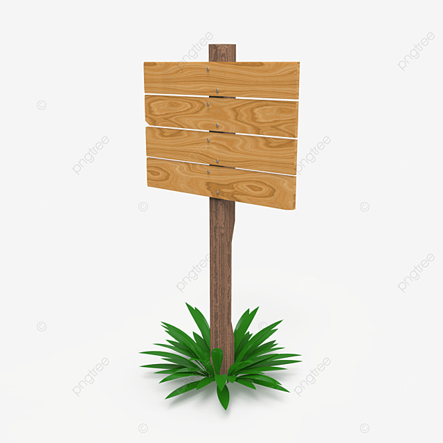 single wooden sign post side view