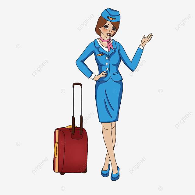 slim stewardess clipart