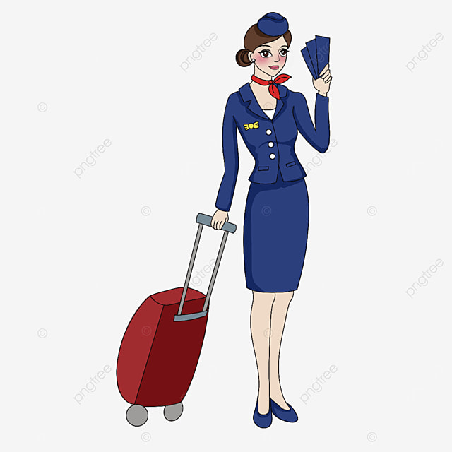 stewardess holding a ticket clipart