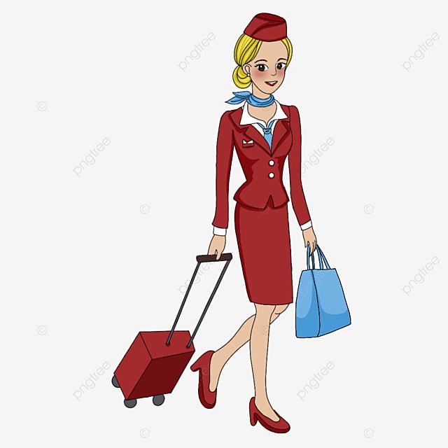 stewardess holding luggage clipart