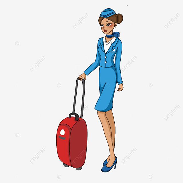 stewardess holding suitcase clipart