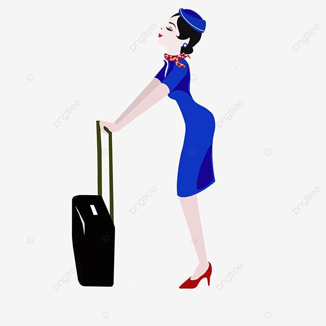 stewardess in blue uniform clipart