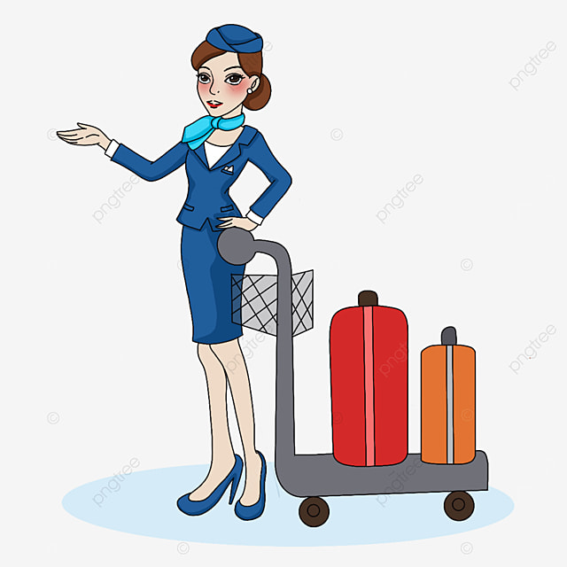 stewardess pushing a suitcase clipart