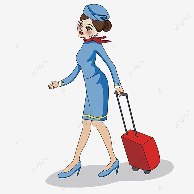 stewardess walking with suitcase clipart