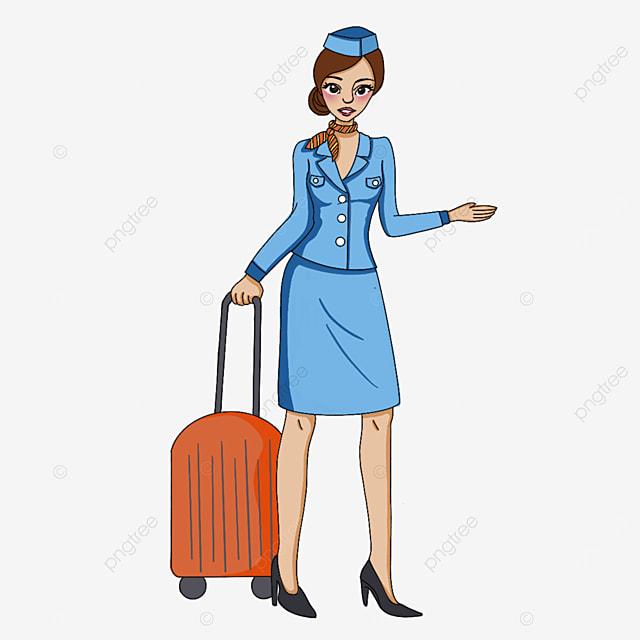 tall beautiful stewardess clipart