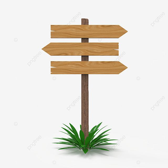 three way wooden sign post