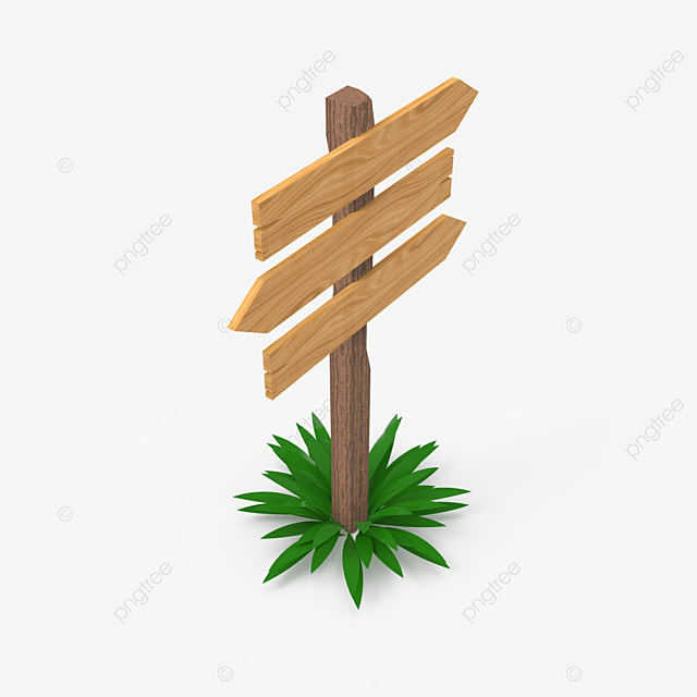three way wooden sign post side view