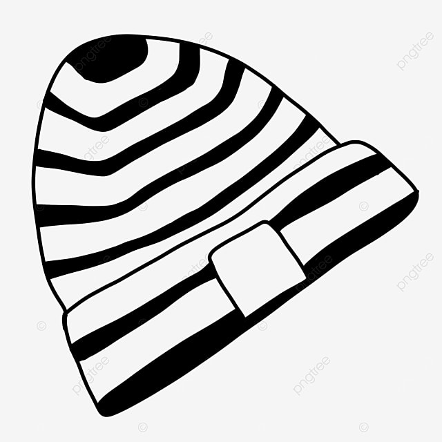 warm striped knitted hat clipart black and white