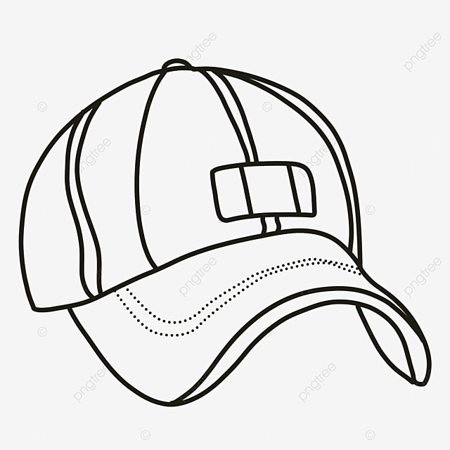 wearing a baseball cap hat clipart black and white