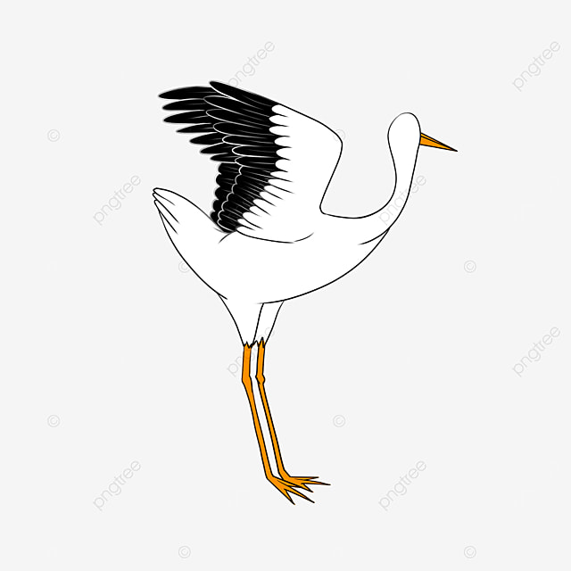 white stork dancing in the wind clip art