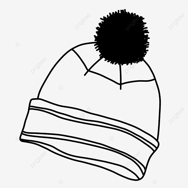 winter warm protective hat clipart black and white