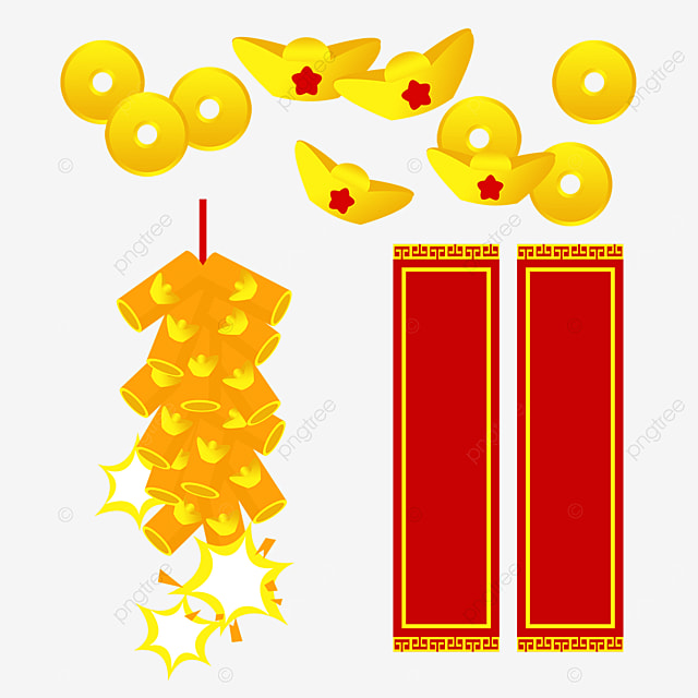 yellow spring festival couplet firecracker combination