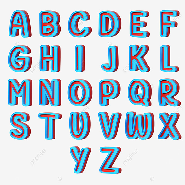 3d stereo english letters