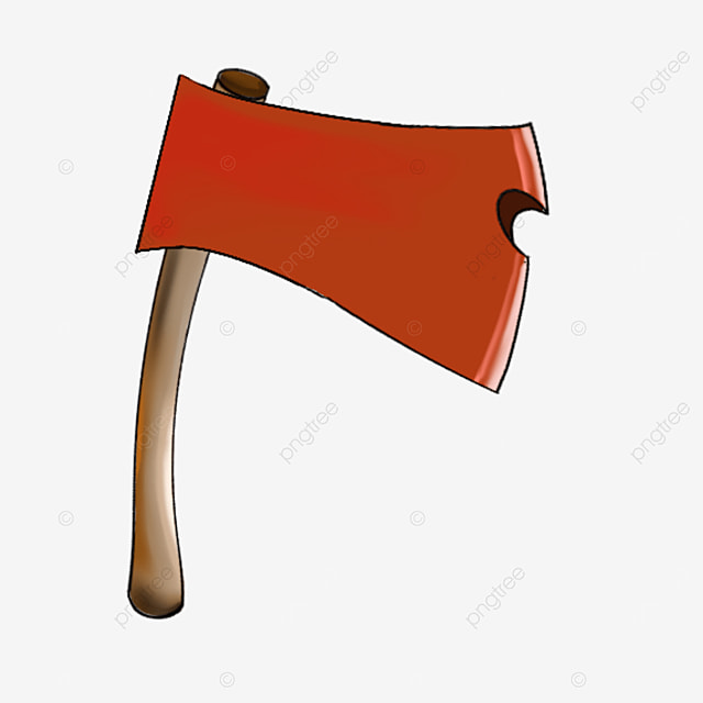 axe with red wooden handle clip art