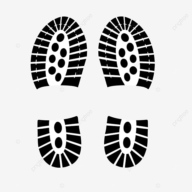 black and white shoe prints clipart