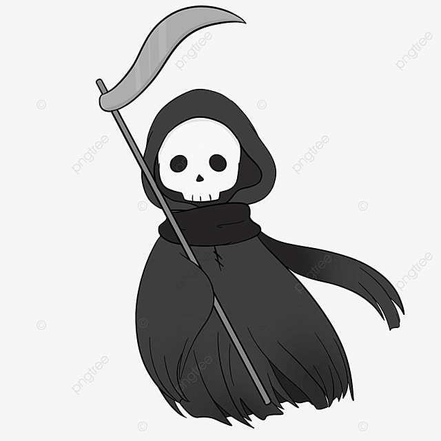 black cartoon grim reaper clipart