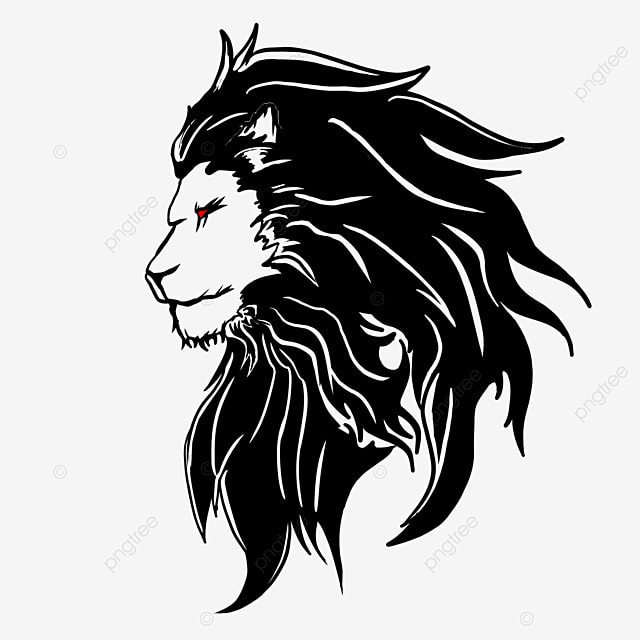 black side red eyed lion head clipart
