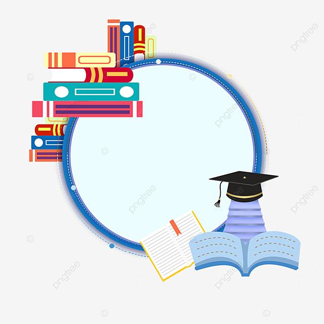 blue circle book bachelor hat border
