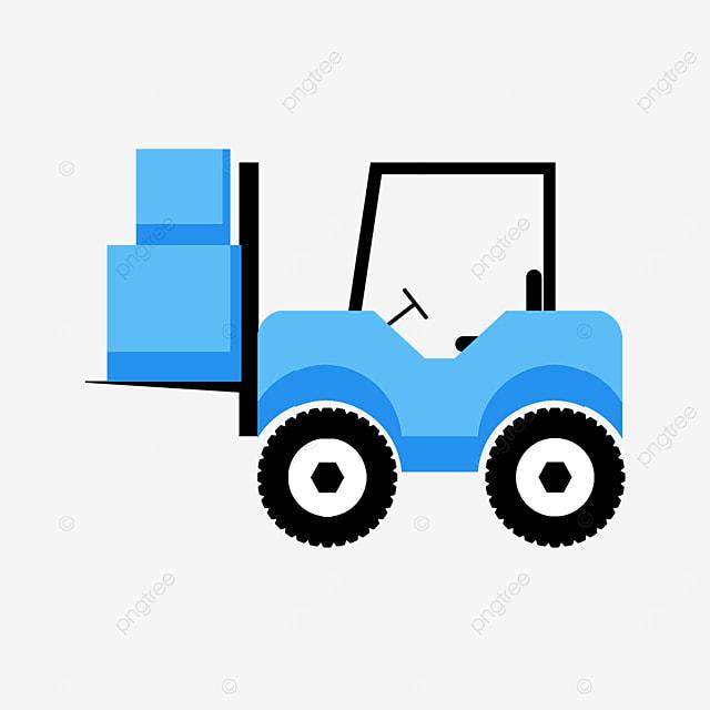 blue color loading forklift clipart