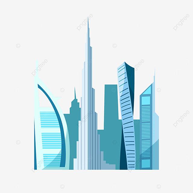 blue dubai city silhouette