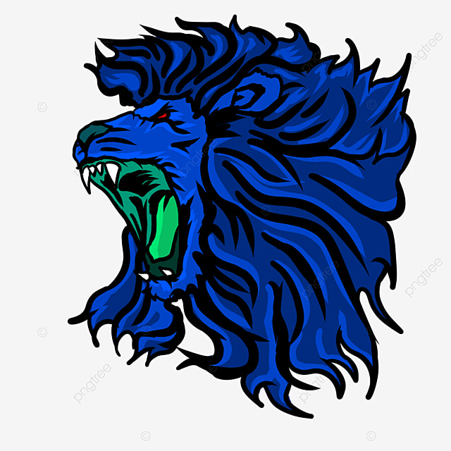 blue flame pattern side lion head clipart
