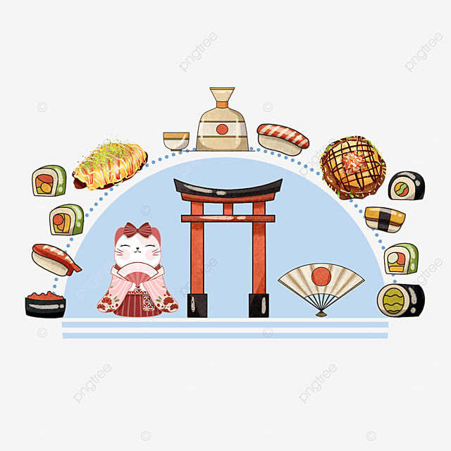 blue japanese gourmet sushi shrine pattern