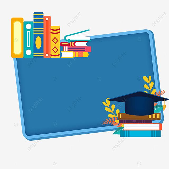 blue rectangular book bachelor hat border