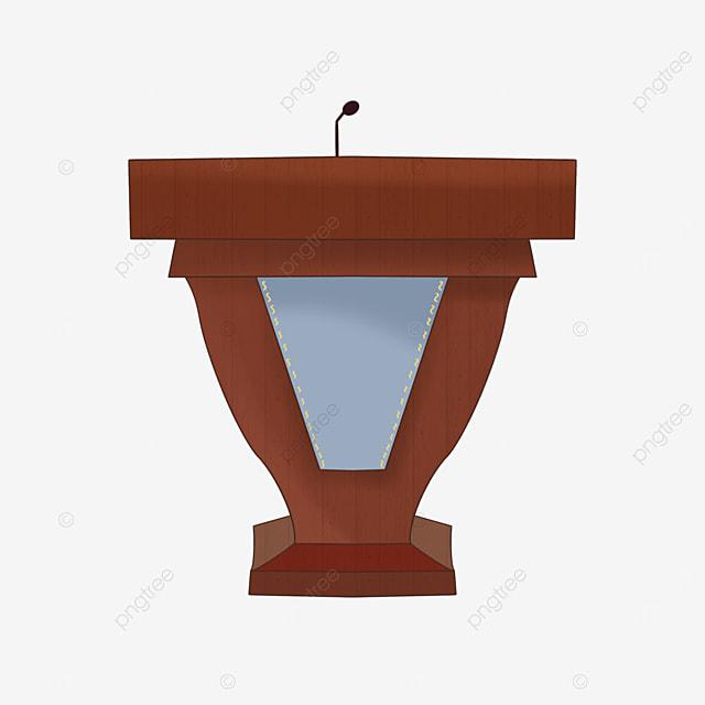 brown blue cloth podium clip art