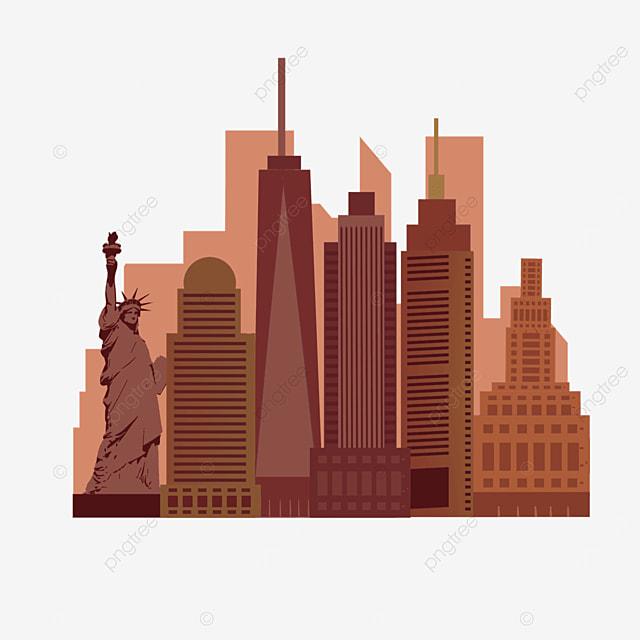 brown minimalist bustling new york city silhouette