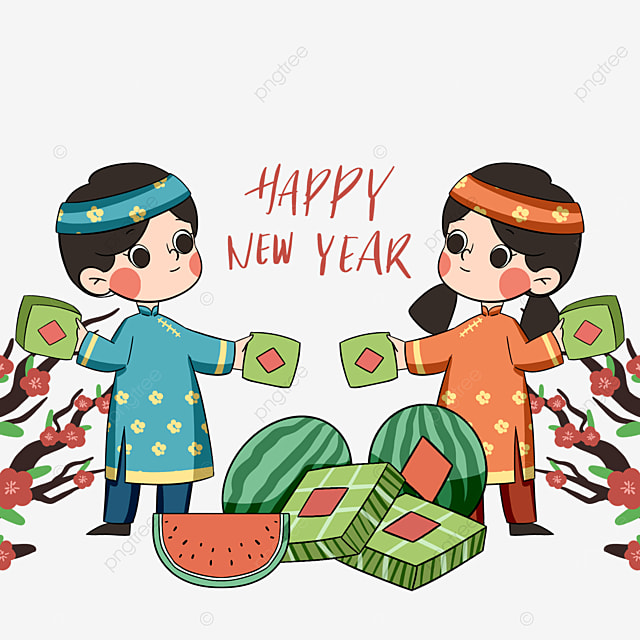 cartoon colorful vietnamese traditional spring festival characters