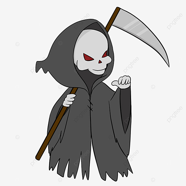 cartoon cute grim reaper clipart