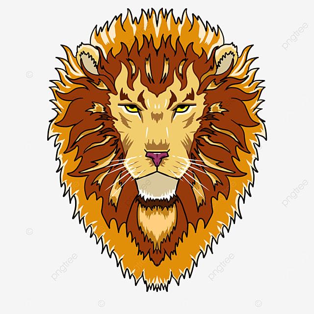 cartoon frontal male lion lion head clipart