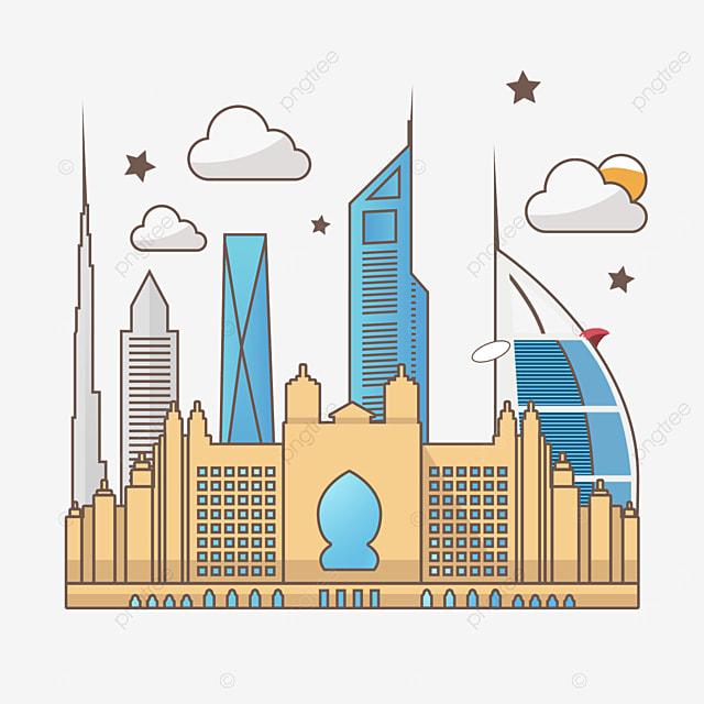 cartoon line dubai city silhouette
