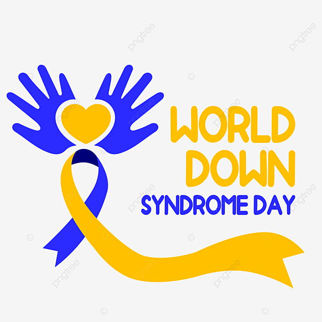 cartoon palms holding love for world down syndrome day