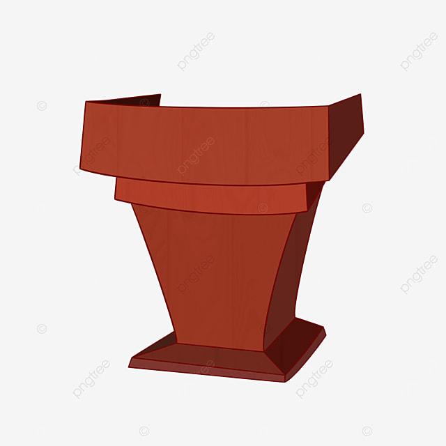 cartoon style brown podium clipart