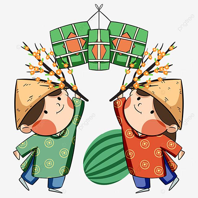 cartoon style vietnamese new year characters