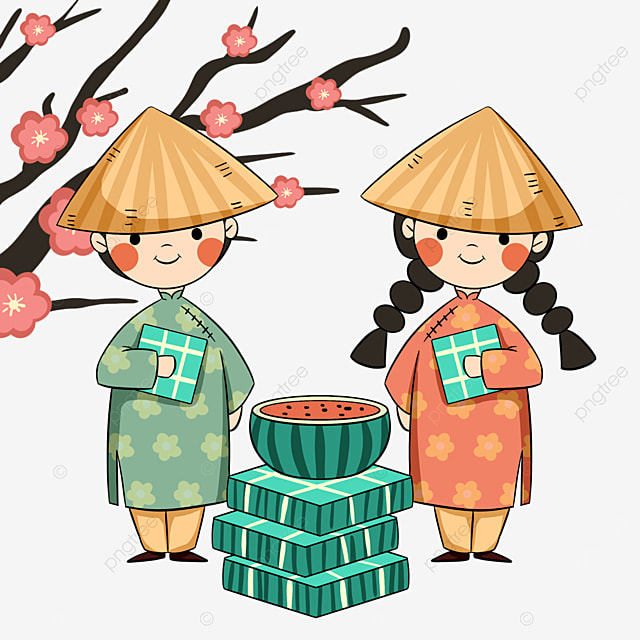cartoon style vietnamese new year festival characters